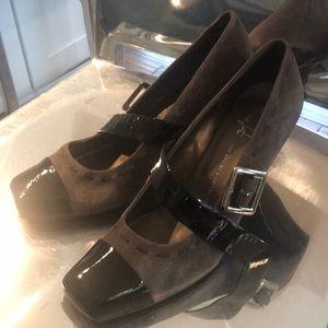 Franco Sarto grey suede heels